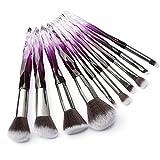 Makeup Brushes Crystal Handle Set, Tenmon 10 PCS Crystal Transparent Handle Kabuki Powder Foundation Brush Concealer Eye Shadow Eyeliner Eyebrow Brush (Green) (purple)