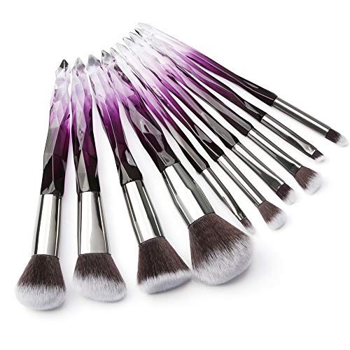 Tenmon Make-up-Pinsel mit Kristallgriff, 10 Stück, transparenter Griff, Kabuki-Pinsel, Puderpinsel,...