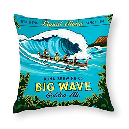 VinMea Decorative Pillow Covers Kona Big Wave Throw Pillow Case Cushion Cover Home Office Decor,Square 18 X 18 Inches
