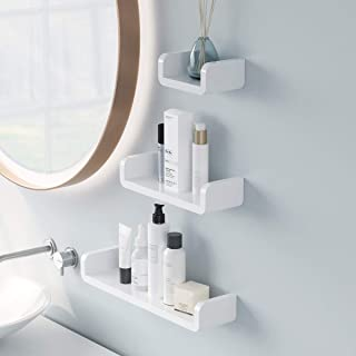 Aelfox 3個 浴室用ラック 粘着式丨シャワーラック お風呂 ラック 壁 棚 洗面所ラック ホルダー 壁掛けラック 調味料 収納ラック(S+M+L)