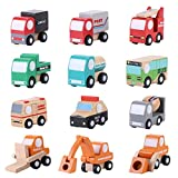 12 unids/set de madera para bebés y niños, modelo de coche de dibujos animados, modelo de tráfico educativo de aprendizaje temprano, regalo para niños