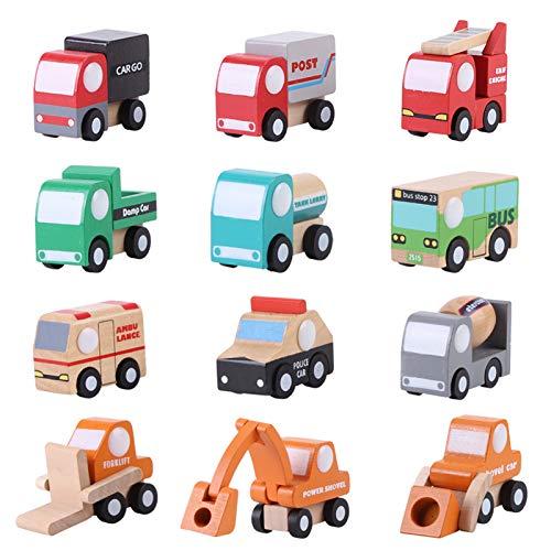 BORDSTRACT Juego de 12 coches de madera de juguete de dibujos animados para niños y niños