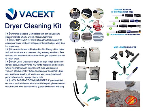 Dryer Vent Cleaner Kit & Refrigerator Condenser Coil Brush-Dryer Lint Brush Vent Trap Cleaner-Vacuum Attachment for Small Crevice-Dryer Cleaner Brush