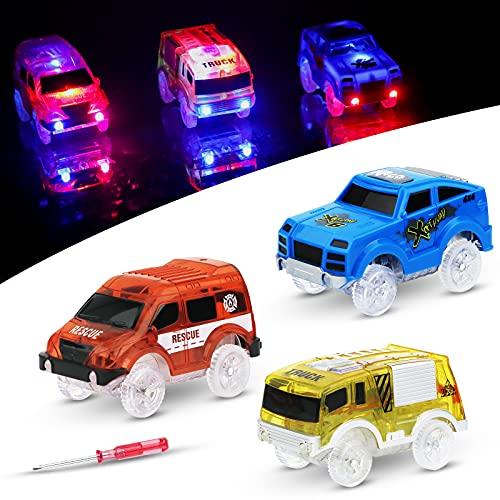 LED Auto Giocattolo per Bambini - Sirecal 3 Pezzi Track Cars Trasparente Pista Macchinine Auto Luminose per Magic Tracks Bagliore nel Buio Traccia per Ragazzo Ragazza