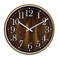 Wall Lock 15.5 Inch Extra Large/Wooden Style Dial/Decorative Round Clock/Modern Design/Arabic Numerals/Solid Round Light Brown Frame/Battery Operated/Flat Glass Cover/Silent Non Ticking/Home/Office
