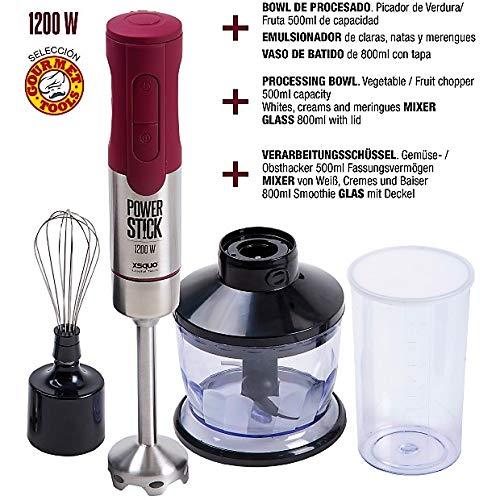 XSQUO Useful Tech Handmixer, maximale Leistung 1200 W, Batimatic Power Stick Plus, Silikon, Edelstahl, Rot, 29 x 13,6 x 22 cm