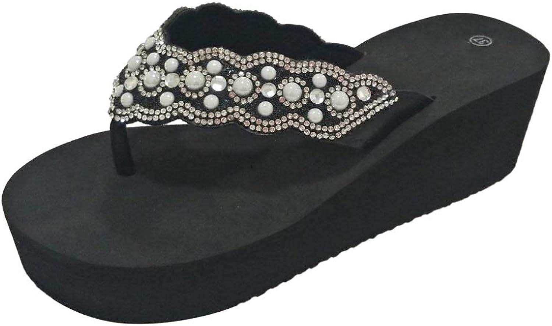Womens Comfy Platform Flip Flops Chunky High Wedges Thong Sandals with Rhinestones Decor