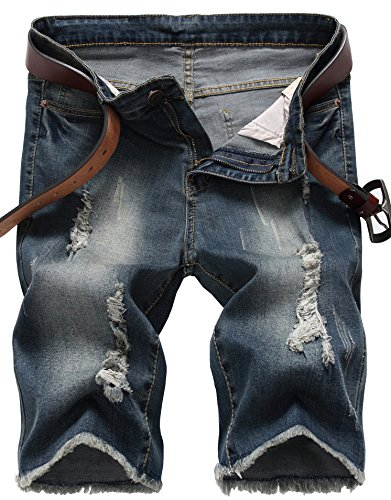 IWOLLENCE Men's Ripped Distressed Jeans Slim Fit Elastic Denim Shorts With Hole Dark Blue-US 32