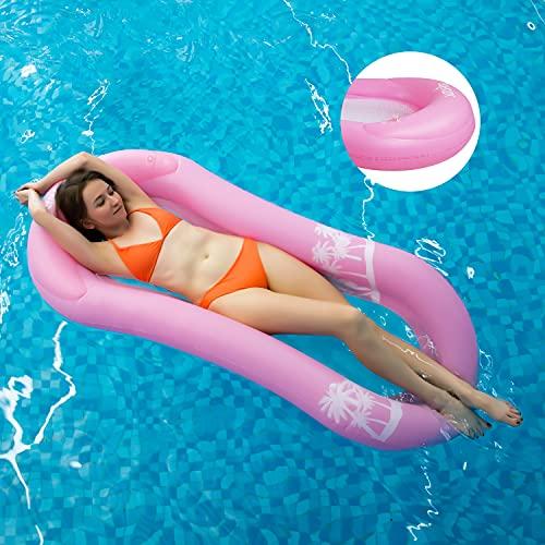 MiiDD Aufblasbare Float,Wasserhängematte mit Netz,Luftmatratze Wasser Pool Hängematte Wasserliege Schwimmring mit Netz,165x75x25cm(Pink)