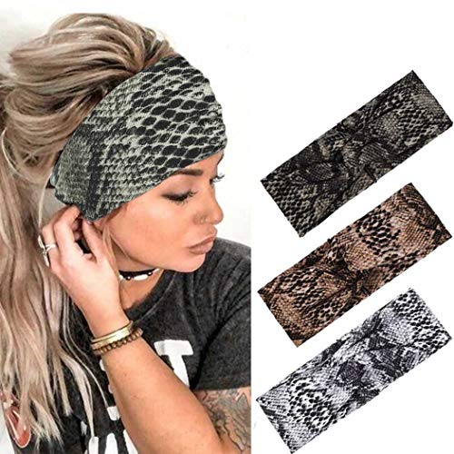 Urieo Yoga Criss Cross Headbands Black Wide Hair Bands Vintage Stretchy Snakeskin Head Wraps for Women and Girls (Pack of 3)