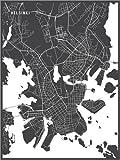 Poster 60 x 80 cm: Helsinki Finnland Karte von Main Street