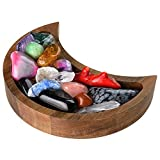 Crescent Moon Tray - Crystal Tray Display for Moon Stones & Essential Oils - Wooden Rustic Decorative Stone Dish Holder - Gothic Decor Centerpiece Jewelry Plate Bowl - 5.9 X 2.95 Inches - Walnut Wood