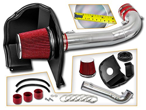 Cold Air Intake System with Heat Shield Kit + Filter Combo RED Compatible For 15-19 Silverado Sierra Suburban Tahoe Yukon Denali Escalade V8