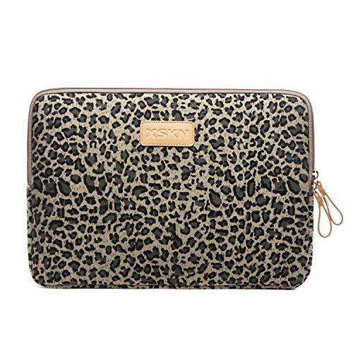 XSKN Yellow Leopard Spot Canvas Fabric Zipper Laptop Sleeve Case Cover for All 13 14 15 inch Computers, Laptop Bag for MacBook Air / Pro / Retina Laptops / Notebook (13 inch, for 13.3 inch Laptop)