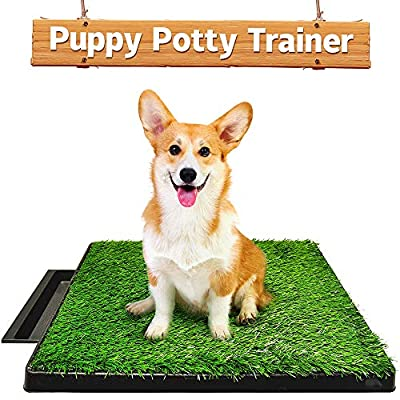 Hompet Dog Toilet Indoor Puppy Training Pad, Dog Potty Pet Training Grass Mat, Removable Waste Tray For Easier Clean Up, Non-toxic Artificial Turf, 63cm x 51cm by Hompet