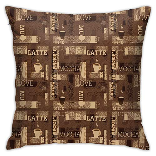 FULIYA Polyester cushion cover decoration pillow case square pillow case for sofa and car, home bed 45 x 45cm, 1 set (Cafeteria Pattern With Hot Mocha Latte Milk Love Typography On Scribble Backdrop)