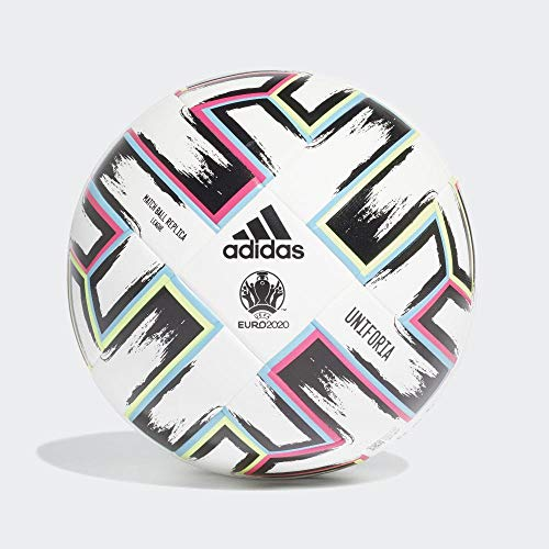 adidas Men\'s UNIFO LGE Soccer Ball, White/Black/Signal Green/Bright Cyan, 5