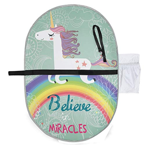 Cute Unicorn With Rainbow Portable Waterproof Baby Diaper Changing Pad Kit, Foldable Travel Home Change Mat Organizer Bag for Toddlers Infants Newborns