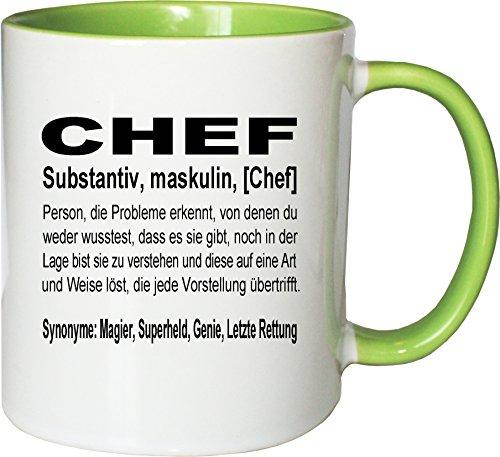 Mister Merchandise Kaffeebecher Tasse Chef Definition Geschenk Gag Job Beruf Arbeit Witzig Spruch Teetasse Becher Weiß-Grün