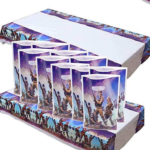 """BESLIME Mantel de plástico desechable para videojuegos, 2 piezas fiesta Mesas rectangulares 70""""X42"""" y 10 piezas bolsa de regalopara la fiesta Decoraciones"""