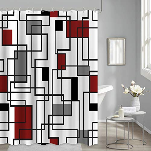 Geometric Shower Curtain Black Red Gray Checkered for Mordern Bathroom Shower Curtains Fabric Waterproof, Multicolor, 72'x72'