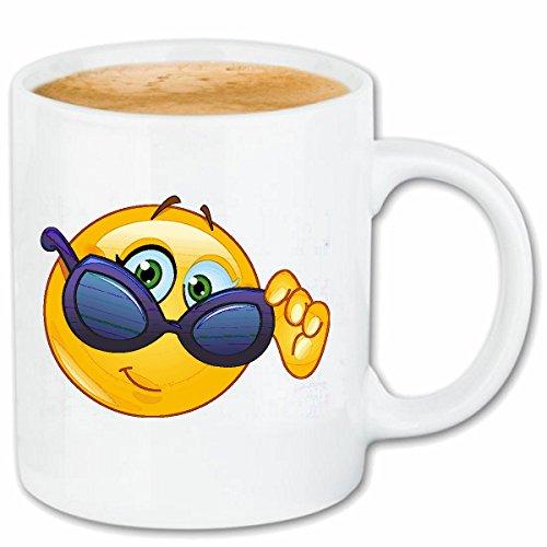 Reifen-Markt Kaffeetasse Smiley MIT GROSSER Sonnenbrille Smileys Smilies Android iPhone Emoticons IOS GRINSEGESICHT Emoticon APP Keramik 330 ml in Weiß