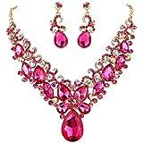 BriLove Costume Fashion Necklace Earrings Jewelry Set for Women Crystal Teardrop Marquise Butterfly Filigree Enamel Statement Necklace Dangle Earrings Set Fuchsia Gold-Toned