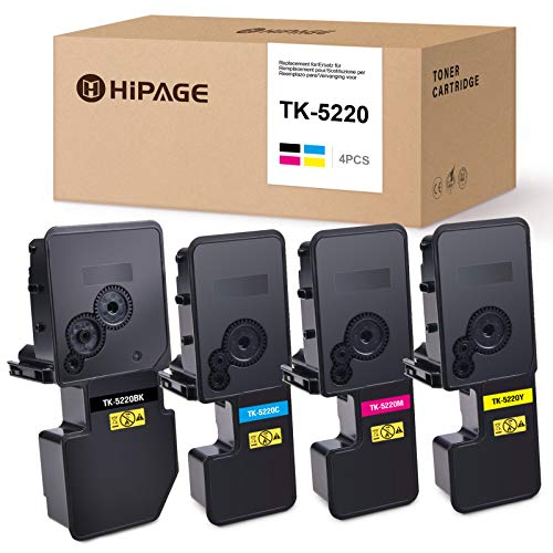 HIPAGE TK-5220 TK5220 Toner Ersatz für Kyocera TK-5220 Kompatibel zu Kyocera ECOSYS P5021cdn P5021cdw M5521cdn M5521cdw (1 Schwarz /1 Cyan /1 Magenta /1 Gelb)