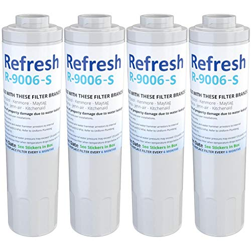 Refresh R-9006-S Replacement Refrigerator Water Filter for Maytag PUR FILTER 4, Whirlpool EDR4RXD1, Everydrop Filter 4, UKF8001AXX-750, 4396395, PuriClean II and Kenmore 469006, 46 9006, 9006 (4 Pack)