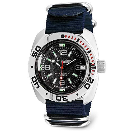 Reloj Vostok automático, anfibio, clásico, de la milicia rusa, para buceo, WR 656.2 pies, a la moda, de negocios, informal, modelo 710640, para hombre, Pulsera de acero macizo B