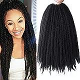 4 Packs Marley Hair Afro Kinky Curly Crochet Hair 18 Inch Long Marley Twist Braiding Hair Synthetic Marley Braids Hair Extensions for Women(1B#)