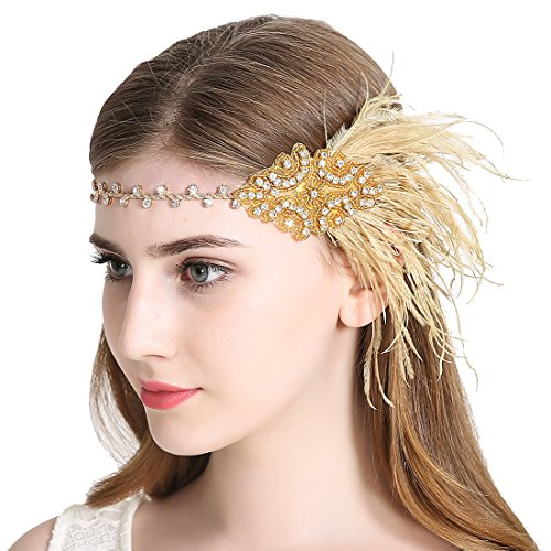 Zivyes 1920s Gatsby Flapper Feather Headband 20s Accessories Crystal Beaded Wedding Headpiece