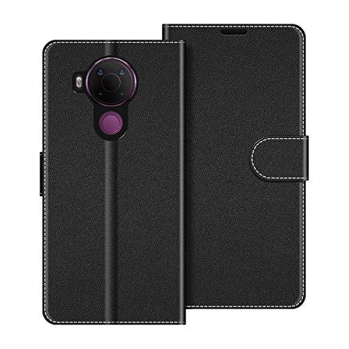 COODIO Handyhülle für Nokia 5.4 Handy Hülle, Nokia 5.4 Hülle Leder Handytasche für Nokia 5.4 Klapphülle Tasche, Schwarz
