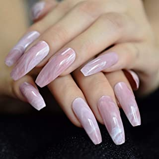 Ombre Gradient Pink Nude White French Ballerina Press On False Nails Extra Long Natural Coffin UV Gel Glue On Fingers Nails (Color : L5268)