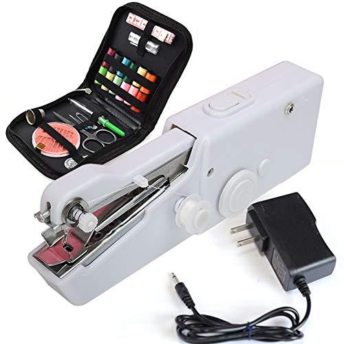 YLOVOW Máquina De Coser De Mano - Mini Máquina De Coser Eléctrica Portátil Inalámbrica - Puntada Práctica para El Hogar para La Ropa Reparación Rápida con Accesorios