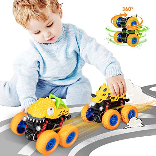 SEPHIX Dinosaur Toys for 2 3 4 5 6 Year Old Boys Birthday Gifts, Pull Back Dino Cars for Kids 3-5 Year Old Boy Outdoor Toys, Monster Trucks Push Vehicles Outside Toys for Toddler Toys Age 2-4