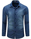 Men's Casual Long Sleeve Brushed Striped Chambray Button Down Shirts Dark Blue, label XXL=US XL