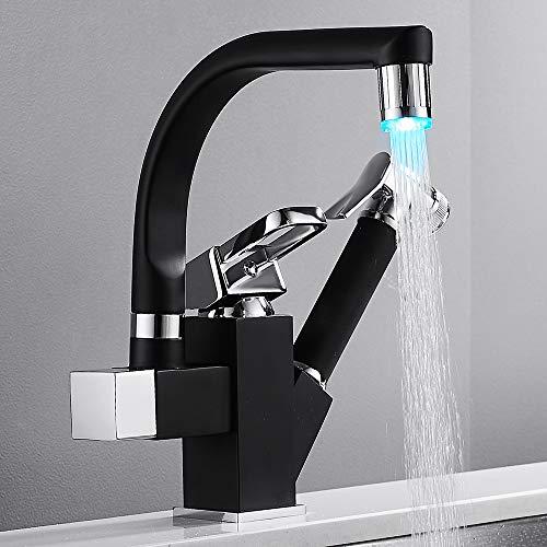 Mezclador de cocina con LED, grifo con alcachofa extraíble, negro, cuadrado, fregadero giratorio a 360 °, de latón