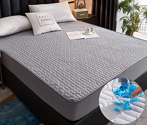XLMHZP Transpirable - Funda para colchon,Funda de colchón Acolchada Gruesa Impermeable sábana Ajustable cálida y Suave para Cama King Queen Protector Pad-W_120x200cm + 28cm