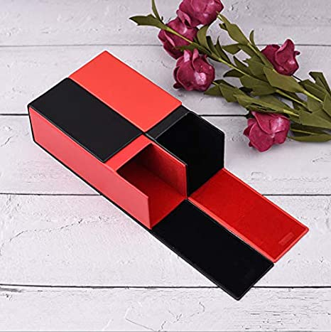 Cadtealir Hard Shell Aluminum Light Nearsighted Spectacle Glasses Case Box Square Cube Shape Black and red Color PU Eyeglasses Case Black