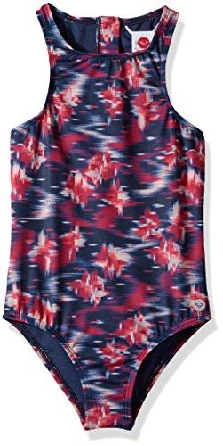 Roxy Girls' Big Tropi Sporty One Piece Swimsuit, Dress Blues neon Waterfall, 8