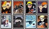 MS Fun Póster de Naruto Akatsuki Itachi Pain Kakashi Hokage Ninja japonés Anime artístico de 20,3 x 25,4 cm, juego de 8, sin marco