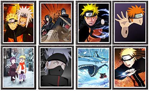 MS Fun Naruto Akatsuki Itachi Pain Kakashi Hokage Ninja Japonés Anime Póster sobre lienzo de 20 x 25 cm, juego de 8, sin marco