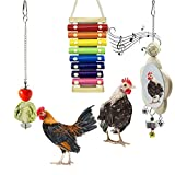Deloky 3PCS Xylophone Chicken Toys-Suspensible Wood Xylophone Toy with 8 Metal Keys-Chicken Mirror Toy with Bell and Chicken Veggies Skewer Fruit Holder for Hens,Parrots