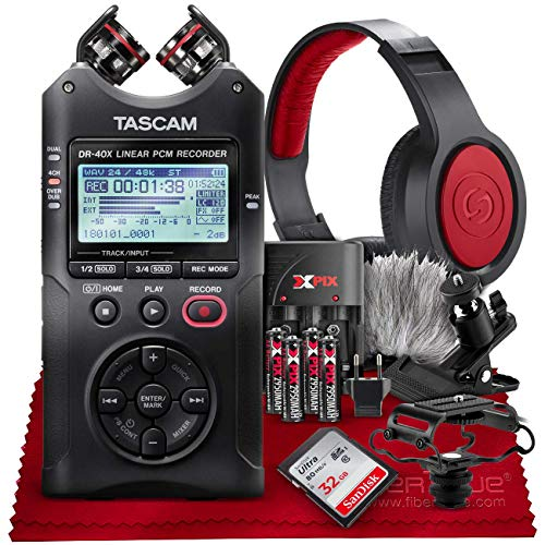 Tascam DR-40X Four-Track Digital Audio Recorder and USB Audio Interface + 32GB + Samson Headphones + Batteries + Accessories Bundle