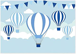 Allenjoy 7x5ft Hot Air Balloon Backdrop Kids Birthday Party Blue Sky and White Clouds Boys Baby Shower Photography Background Pilot Themed Cake Table Banner Photo Booth Studio Props
