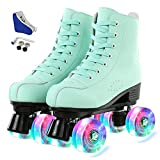 XUDREZ Men Women\'s Roller Skates High-top PU Leather Roller Skates Shiny Double-Row Design, Adjustable Classic Premium Roller Skates for Girls Boys (Flash wheel,37)