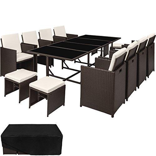 TecTake Poly Rattan 8+4+1 Sitzgruppe | 8 Stühle 4 Hocker 1 Tisch | inkl. Schutzhülle & Edelstahlschrauben | - Diverse Farben - (Antik | Nr. 402833)