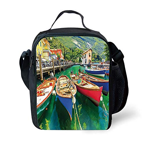 MLNHY School Supplies Italy,Summer Landscape and Wooden Boats on The Lake Garda Torbole Town Fishing Maritime Decorative,Multicolor for Girls or Boys Washable