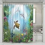 Treer Anti-Schimmel und Wasserdicht Duschvorhang für Badezimmer, Meerestier 3D-Druck mit 12 Duschvorhangringe Waschbar Duschvorhang (Delfin,120x180cm)